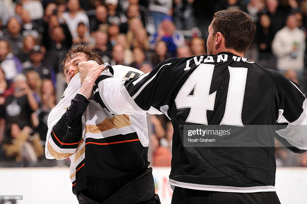 Sheldon Brookbank #21 of the Anaheim Ducks gets into a fight against Raitis Ivanans #41 of the Los Angeles Kings on April 3, 2010 at Staples Center in Los Angeles, California.