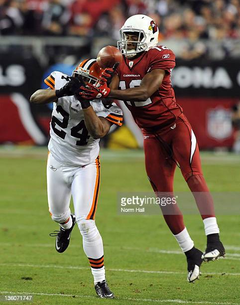 Sheldon Brown of the Cleveland Browns fights for the ball with Andre Roberts of the Arizona Cardinals at University of Phoenix Stadium on December 18...