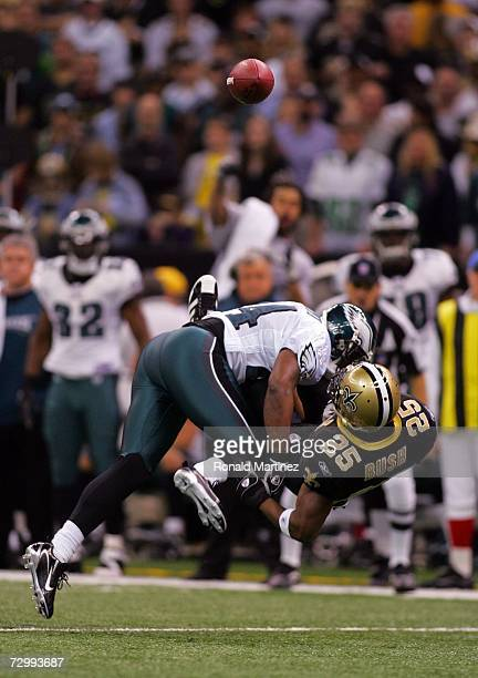 Sheldon Brown of the Philadelphia Eagles breaks up a pass intended for Reggie Bush of the New Orleans Saints during the NFC divisional playoff game...
