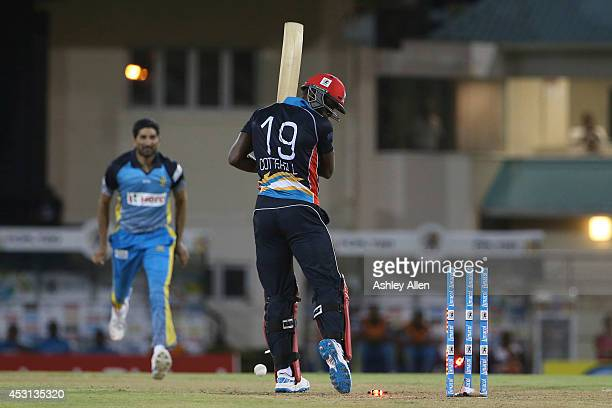 Sheldon Cotterell is bowled by Sohail Tanvir during a match between St Lucia Zouks and Antigua Hawksbills as part of week 4 of the Limacol Caribbean...