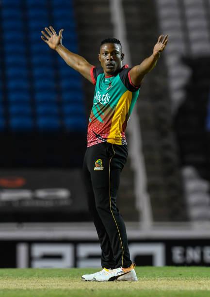 Sheldon Cottrell of St Kitts Nevis Patriots celebrates the dismissal of Brandon King of Guyana Amazon Warriors during the Hero Caribbean Premier...