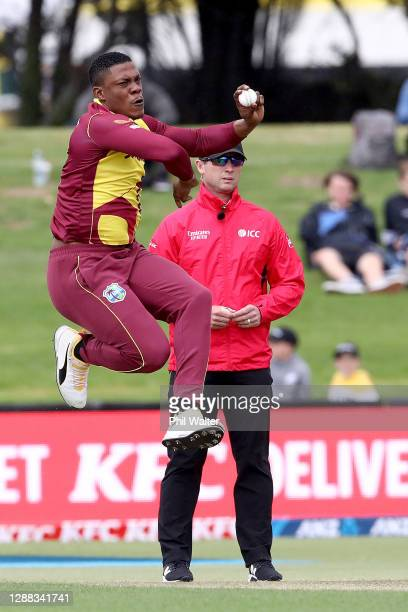 Sheldon Cottrell of the West Indies bowls during game two of the International Twenty20 series between New Zealand and the West Indies at Bay Oval on...