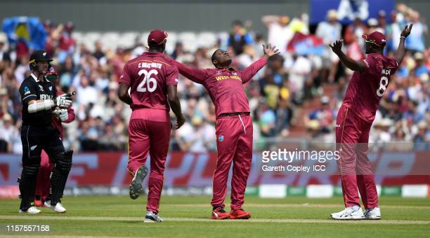 Sheldon Cottrell of the West Indies celebrates bowling Colin Munro of New Zealand during the Group Stage match of the ICC Cricket World Cup 2019...