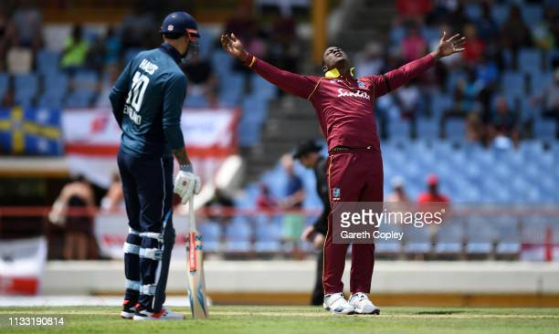 Sheldon Cottrell of the West Indies celebrates dismissing Jonathan Bairstow of England during the Fifth One Day International match between England...