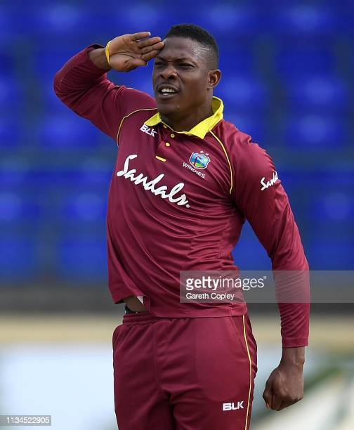 Sheldon Cottrell of the West Indies celebrates dismissing Jonathan Bairstow of England during the 2nd Twenty20 International match between England...