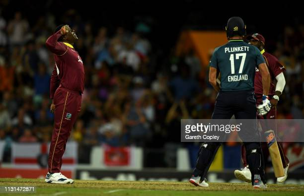 Sheldon Cottrell of the West Indies celebrates dismissing Moeen Ali of England during the 2nd One Day International match between the West Indies and...