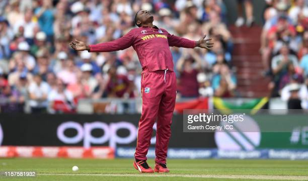 Sheldon Cottrell of the West Indies celebrates dismissing Tom Latham of New Zealand during the Group Stage match of the ICC Cricket World Cup 2019...