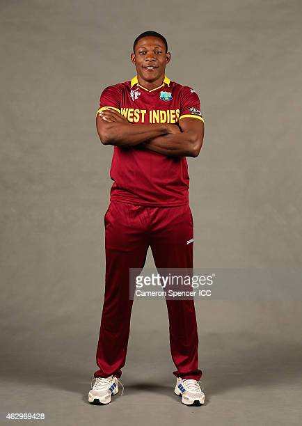 Sheldon Cottrell of the West Indies poses during the West Indies 2015 ICC Cricket World Cup Headshots Session at the Intercontinental on February 8,...
