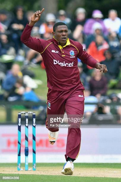 Sheldon Cottrell of the West Indies reacting during the One Day International match during the series between New Zealand and the West Indies at...