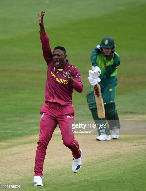 Sheldon Cottrell of West Indies appeals for the wicket of Quinton De Kock of South Africa during the ICC Cricket World Cup 2019 Warm Up match between...