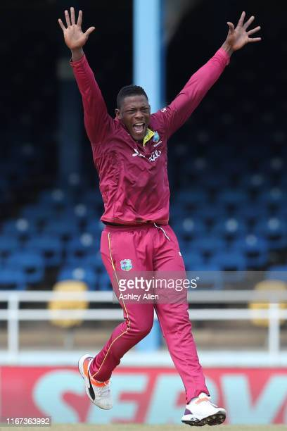 Sheldon Cottrell of West Indies appeals successfully for the wicket of India's Shikhar Dhawan during the second MyTeam11 ODI between the West Indies...
