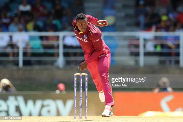Sheldon Cottrell of West Indies bowls during the second MyTeam11 ODI between the West Indies and India at the Queen's Park Oval on August 11, 2019 in...