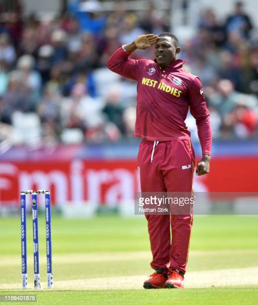 Sheldon Cottrell of West Indies celebrates as he gets Avishka Fernando of Sri Lanka out during the Group Stage match of the ICC Cricket World Cup...