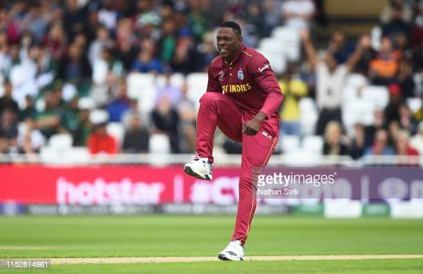 Sheldon Cottrell of West Indies celebrates as he gets out Imam-ul-Haq of Pakistan out gets during the Group Stage match of the ICC Cricket World Cup...