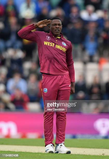 Sheldon Cottrell of West Indies celebrates taking the wicket of Hashim Amla of South Africa during the Group Stage match of the ICC Cricket World Cup...