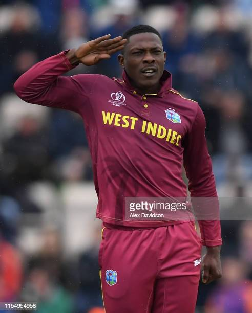 Sheldon Cottrell of West Indies celebrates the wicket of Aiden Markram of South Africa during the Group Stage match of the ICC Cricket World Cup 2019...