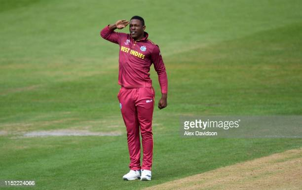 Sheldon Cottrell of West Indies celebrates the wicket of Martin Guptill of New Zealand during the ICC Cricket World Cup 2019 Warm Up match between...