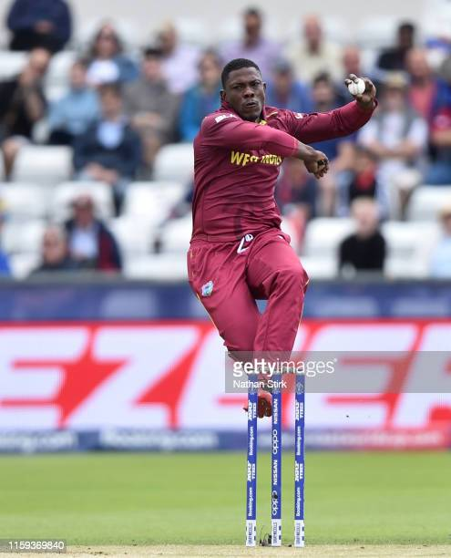 Sheldon Cottrell of West Indies runs into bowl during the Group Stage match of the ICC Cricket World Cup 2019 between Sri Lanka and West Indies at...