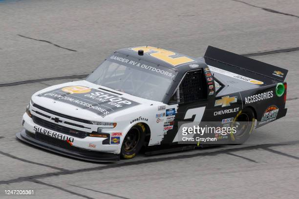 Sheldon Creed, driver of the Chevy Truck Month Chevrolet, drives during the NASCAR Gander Outdoors Truck Series Vet Tix Camping World 200 at Atlanta...