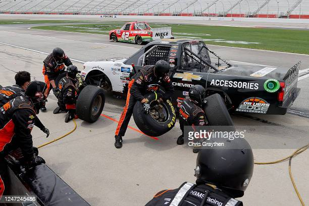 Sheldon Creed, driver of the Chevy Truck Month Chevrolet, pits during the NASCAR Gander Outdoors Truck Series Vet Tix Camping World 200 at Atlanta...