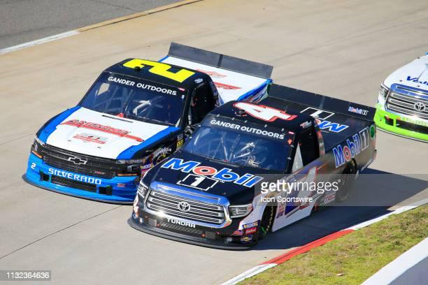Sheldon Creed GMS Racing Chevrolet Silverado AMOrtega/RTL battles Todd Gilliland Kyle Busch Motorsports Toyota Tundra Mobil 1 during the 21st running...