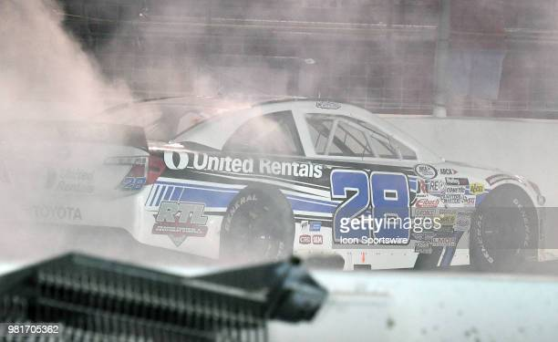 Sheldon Creed of Alpine CA driving a Toyota for United Rentals celebrates after winning the ARCA Racing Series PapaNicholas Coffee 150 on June 22 at...