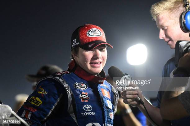 Sheldon Creed of Alpine CA driving a Toyota for United Rentals is interviewed by Fox Sports 1 after winning the ARCA Racing Series PapaNicholas...