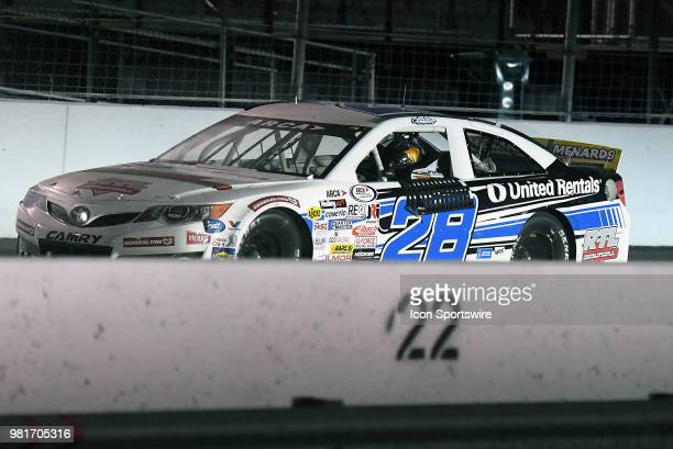 Sheldon Creed of Alpine CA driving a Toyota for United Rentals is shown immediately after winning the ARCA Racing Series PapaNicholas Coffee 150 on...