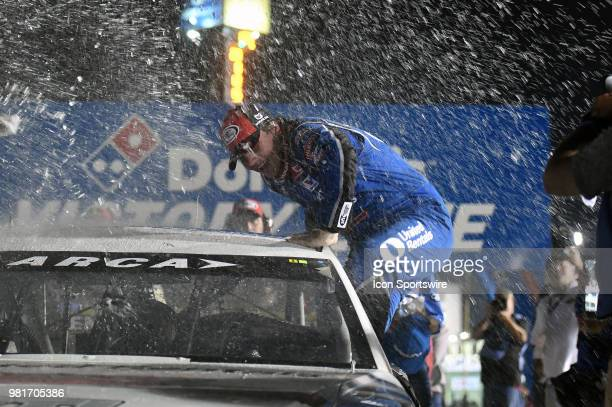 Sheldon Creed of Alpine CA driving a Toyota for United Rentals is showered with water and confetti as he climbs out of his race car after winning the...
