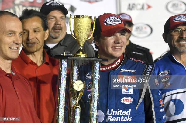 Sheldon Creed of Alpine CA driving a Toyota for United Rentals is shown with the championship trophy after winning the ARCA Racing Series...