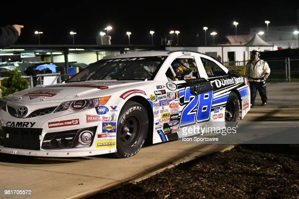Sheldon Creed of Alpine CA driving a Toyota for United Rentals pulls in to Victoria Lane after winning the ARCA Racing Series PapaNicholas Coffee 150...