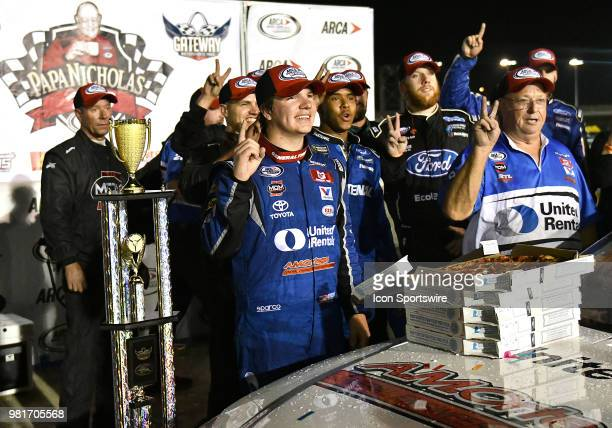 Sheldon Creed of Alpine CA driving a Toyota for United Rentals celebrates with his racing team after winning the ARCA Racing Series PapaNicholas...