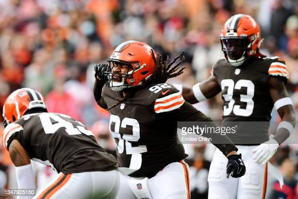 Sheldon Day of the Cleveland Browns reacts after a first down by the Arizona Cardinals during the first quarter at FirstEnergy Stadium on October 17,...