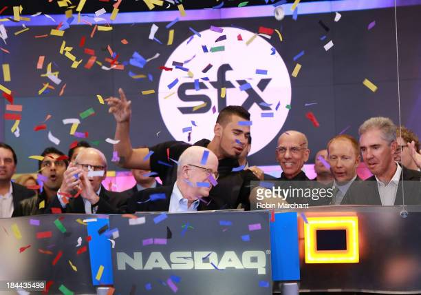 Sheldon Finkel Vice Chairman Afrojack Bob FX Sillerman CEO of SFX and Mitchell Slater Vice Chairman of the Board of Directors rings the NASDAQ...