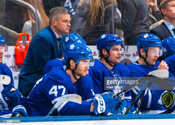 Sheldon Keefe head coach of the Toronto Maple Leafs looks on against the Winnipeg Jets during the first period at the Scotiabank Arena on January 8,...