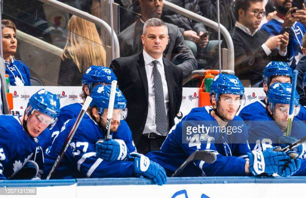 Sheldon Keefe head coach of the Toronto Maple Leafs looks on against the Dallas Stars during the second period at Scotiabank Arena on February 13,...