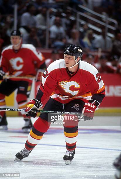 Sheldon Kennedy of the Calgary Flames skates on the ice during an NHL game against the Mighty Ducks of Anaheim on April 24 1995 at the Arrowhead Pond...