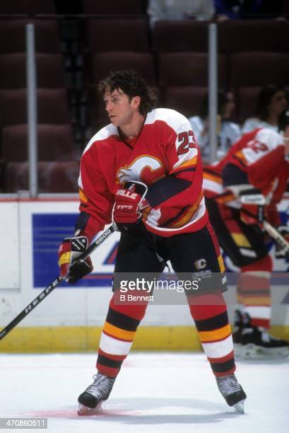 Sheldon Kennedy of the Calgary Flames warmsup before an NHL game against the Mighty Ducks of Anaheim on January 17 1996 at the Arrowhead Pond of...