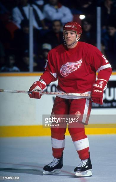Sheldon Kennedy of the Detroit Red Wings skates on the ice during an NHL game against the Winnipeg Jets on December 5 1992 at the Winnipeg Arena in...