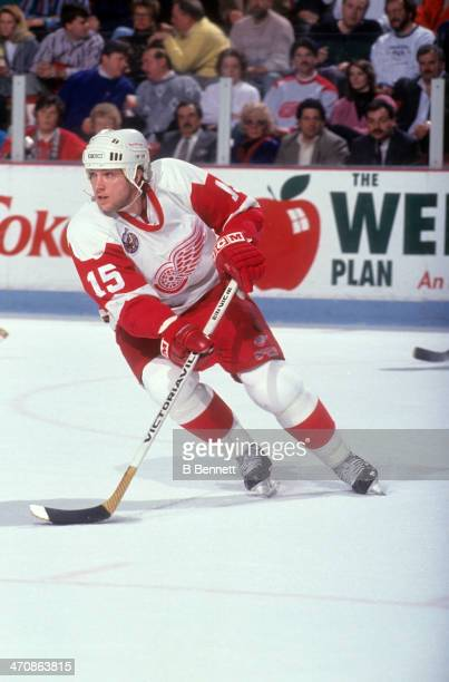 Sheldon Kennedy of the Detroit Red Wings skates on the ice during an NHL game against the Vancouver Canucks on April 3 1993 at the Joe Louis Arena in...