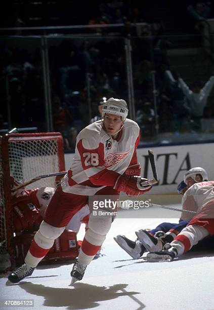 Sheldon Kennedy of the Detroit Red Wings skates on the ice during an NHL game against the New York Islanders on March 29, 1992 at the Nassau Coliseum...
