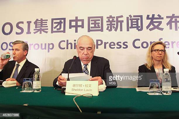Sheldon Lavin CEO of the OSI Group and OSI president David McDonald attend a press conference over the recent expired meat scandal at Hengshan...
