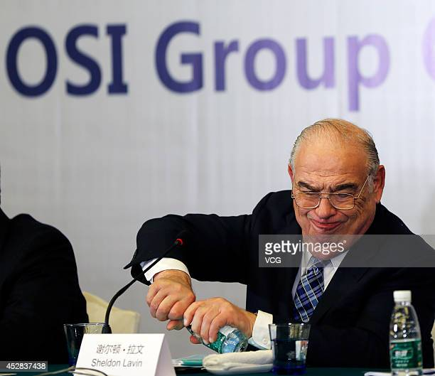 Sheldon Lavin CEO of the OSI Group attends a press conference over the recent expired meat scandal at Hengshan Picardie Hotel on July 28 2014 in...