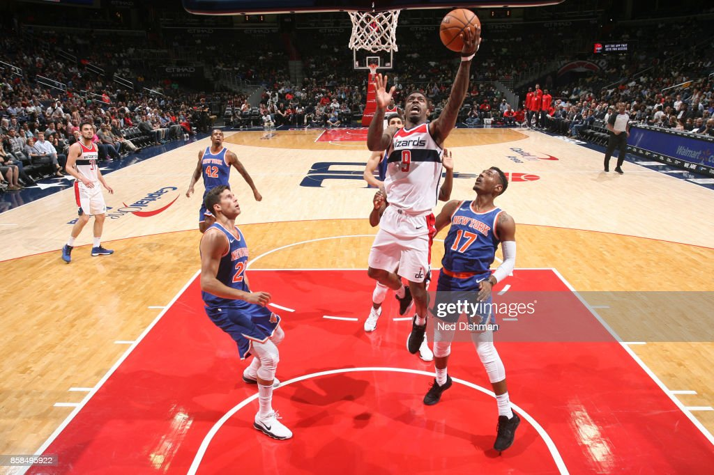 Sheldon Mac #9 of the Washington Wizards shoots the ball against the New York Knicks during the preseason game on October 6, 2017 at Capital One Arena in Washington, DC.