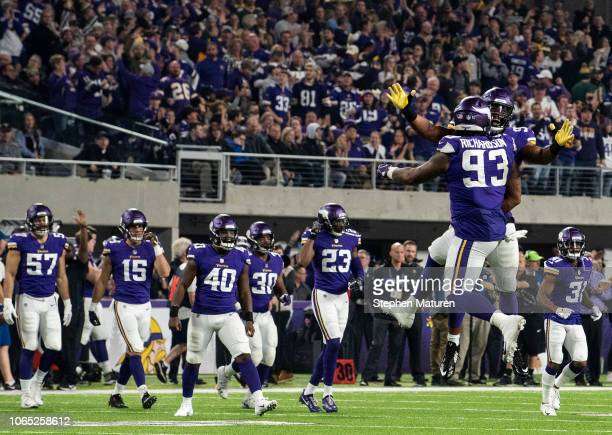 Sheldon Richardson of the Minnesota Vikings celebrates after sacking Aaron Rodgers of the Green Bay Packers in the fourth quarter of the game at US...