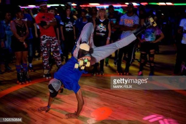 Sheldon Simmons busts a move during the 11th Annual Houston Rolling Round Up at the Funcity Sk8 Play in Houston Texas on February 23 2020 Skate...