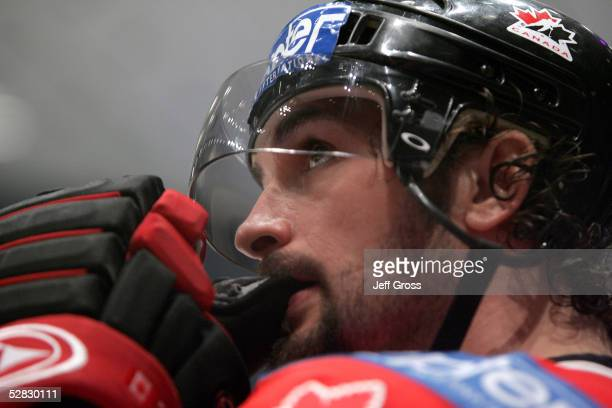 Sheldon Souray of Canada watches the last minute of the game from the bench in the third period against the Czech Republic in the IIHF World Men's...