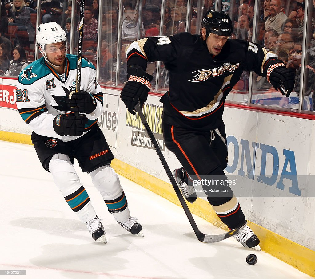 Sheldon Souray #44 of the Anaheim Ducks battles for the puck against T.J. Galiardi #21 of the San Jose Sharks on March 18, 2013 at Honda Center in Anaheim, California.