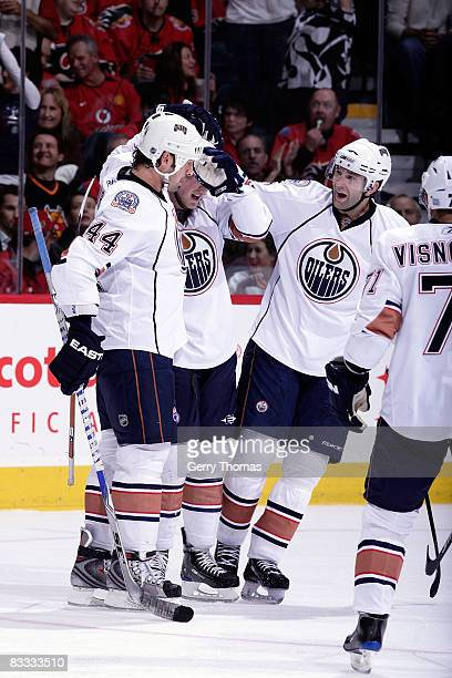 Sheldon Souray of the Edmonton Oilers celebrates a goal against the Calgary Flames on October 17 2008 at Pengrowth Saddledome in Calgary Alberta...