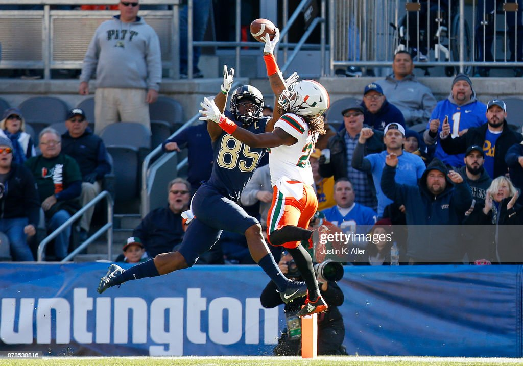Sheldrick Redwine #22 of the Miami Hurricanes knocks down a pass intended for Jester Weah #85 of the Pittsburgh Panthers on November 24, 2017 at Heinz Field in Pittsburgh, Pennsylvania.
